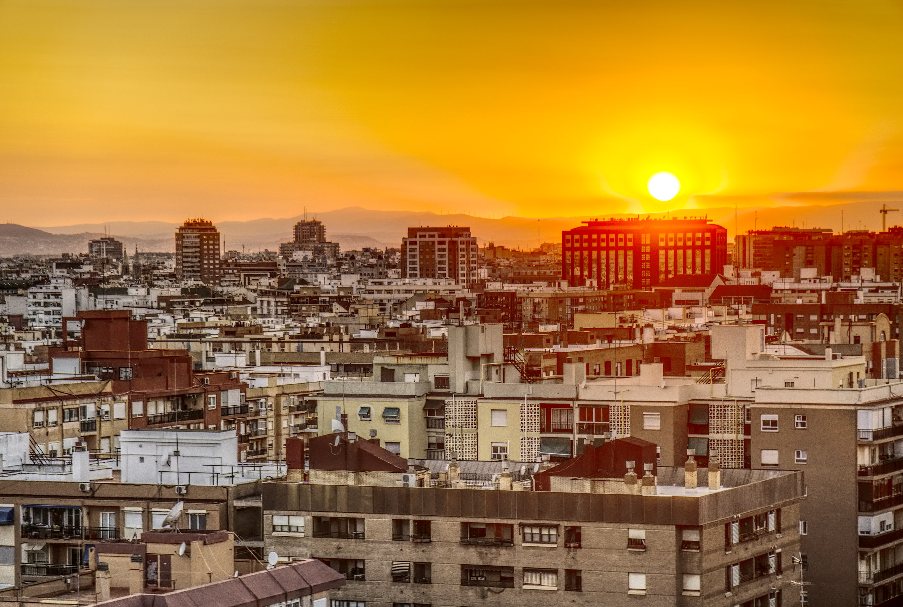 Valencia city scape at sunset