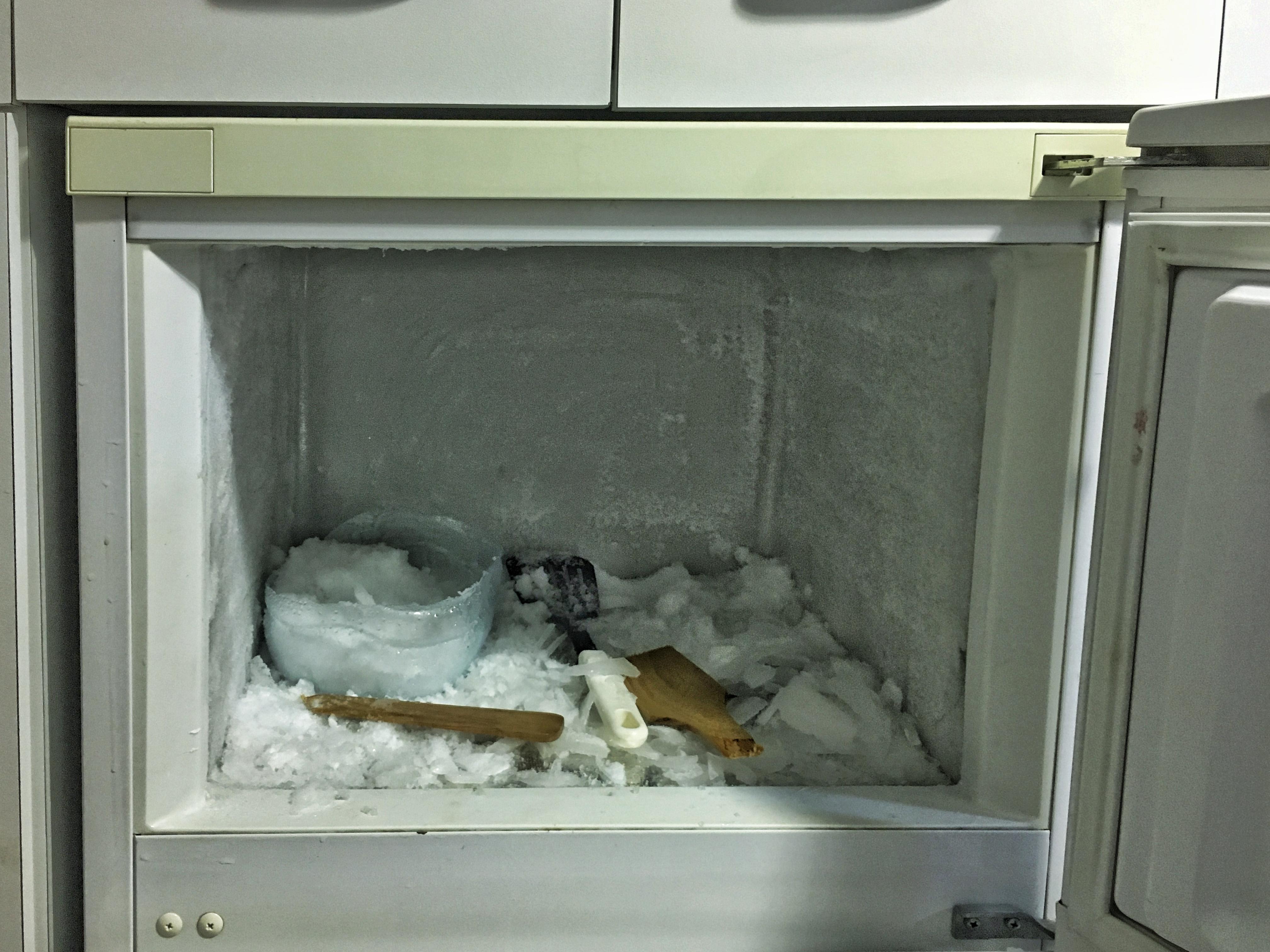 the frozen fridge compartment