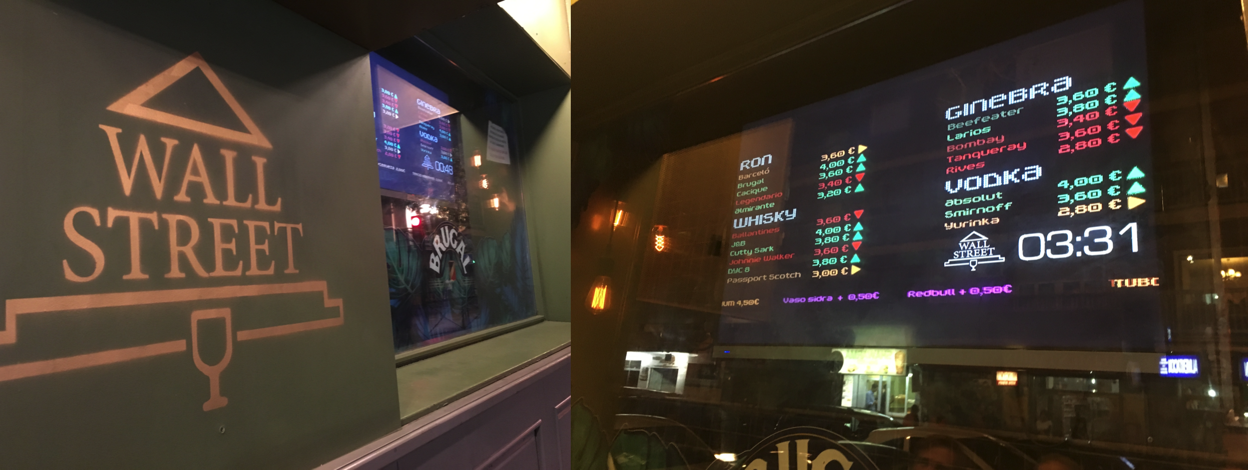 The digital signs in the wallstreet bar