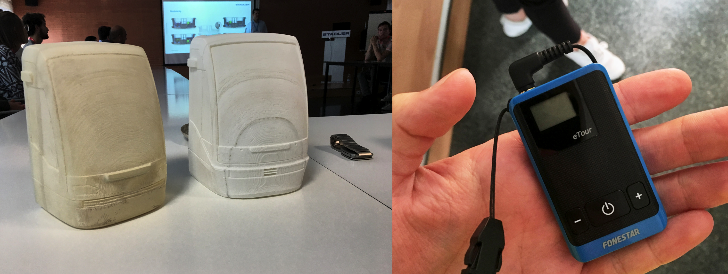 3D printed train models and the tour guide reciever