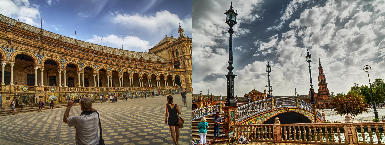 the beautiful buildings at plaza de españa