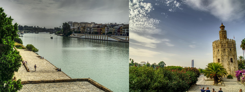 """walking along the river """"Guadalquivir"""" in Sevillia"""