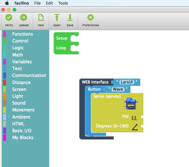Starting to integrate into the Facilino block-programming-tool