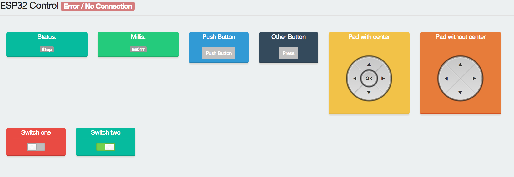 web interface demo with nice colors